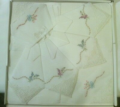 Vintage 60's Ladies Handkerchiefs, Box of 6, New, Floral Embroidered with Lace