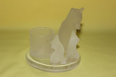 Partylite Frosted Mother Wolf w/Cubs Votive Candle Holder