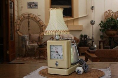 Teas Made Pristne Restored Hawkins British Teasmade Tecal Deco Clock Lamp Kettle