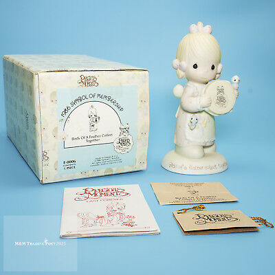 """1986 Precious Moments COLLECTOR'S """"Birds of a Feather Collect Together"""" E0006"""