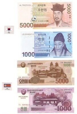 A Set Of 4 Notes Of The 2 Koreas!! Woah! ).) 0.0 Cool!!