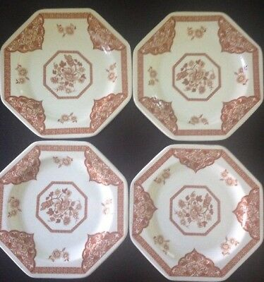 "4 J & G Meakin Old Pekin 7"" Dessert Plates 8 Sided Royal Staffordshire Ironstone"
