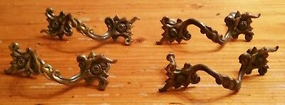 Vintage LOT 4 FRENCH PROVINCIAL METAL DRESSER DRAWER PULLS