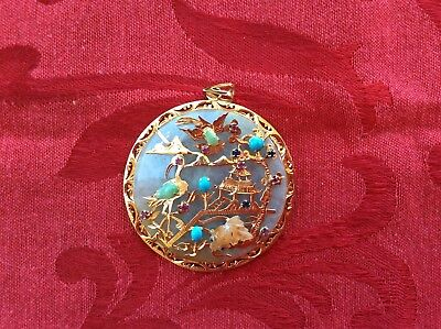 Beautiful Large Oriental Jade And 14K Gold Pendant With Pagoda Scene