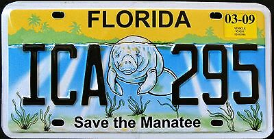 """FLORIDA """" SAVE THE MANATEE - WILDLIFE - ICA 295 """"  FL Specialty License Plate"""