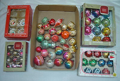 Vintage LOT 68 CHRISTMAS ORNAMENTS - Stencil Stripe Glitter Mica Indents Double