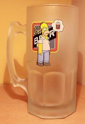 Large Homer Simpsons Frosted Duff Beer Stein 2002 Fox Collectable Glass VGC