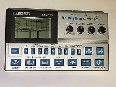 Boss DR-110 Dr Rhythm Graphic Analog Drum Machine working well in case