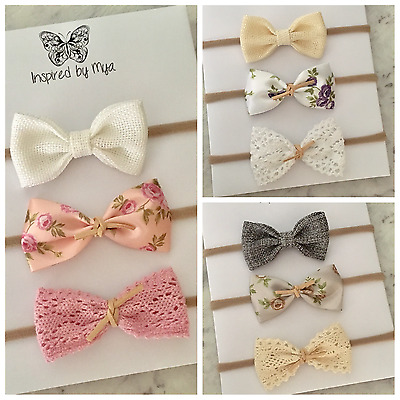 3x Headband Baby Girl Toddler Newborn Bow Flower Leather Nylon Hair Accessory