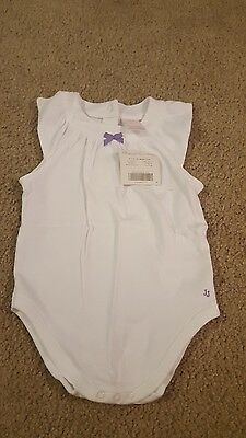 NWT Janie And Jack Baby Girls White Cotton Romper 6-12 Months
