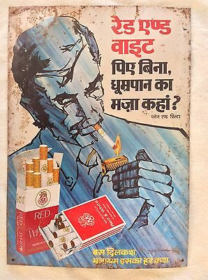 Vintage 70s Indian RED & WHITE CIGARETTE TIN SIGN Tobacco advertising Tobacciana