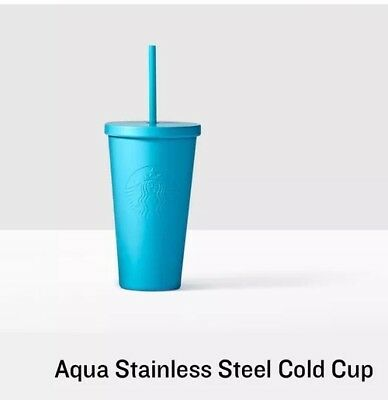 Starbucks Matte Mint Aqua Green Light Blue Stainless Steel Cold Cup Tumbler 16oz