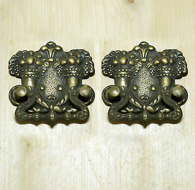 Lot of 2 pcs Vintage GARDEN of EDEN Solid Brass Cabinet Handle KNOB Drawer Pulls