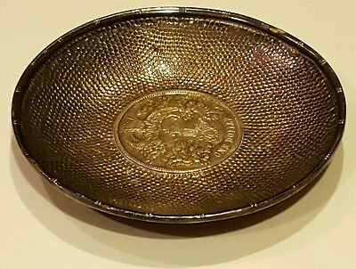 China antique Qing dynasty silver coin dish
