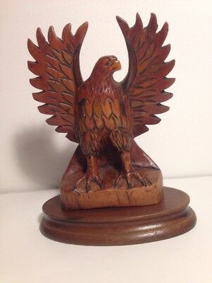 Wooden Bald Eagle Carving, Detailed Bird Statue Figurine. #225