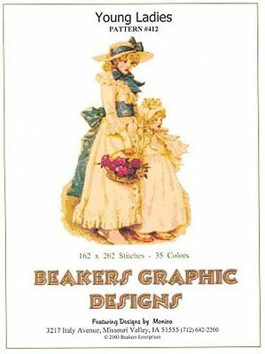 YOUNG LADIES Victorian Counted Cross Stitch detailed #0412