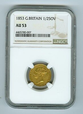 1853 Great Britain 1/2 Sovereign NGC AU53