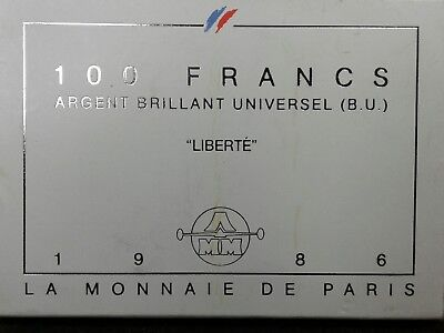 France  1986 Silver 100 Francs Uncirculated Liberte Statue of Liberty coin/case