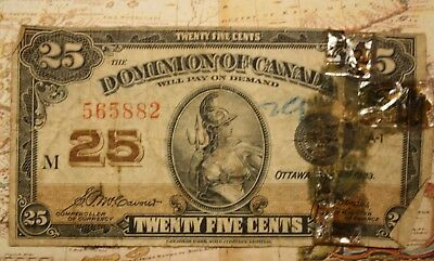 1923 Dominion Of Canada 25 Cent Note Lot 3M - Wear