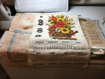 Lot Of 5 Vintage Linen Calendars From The 80's