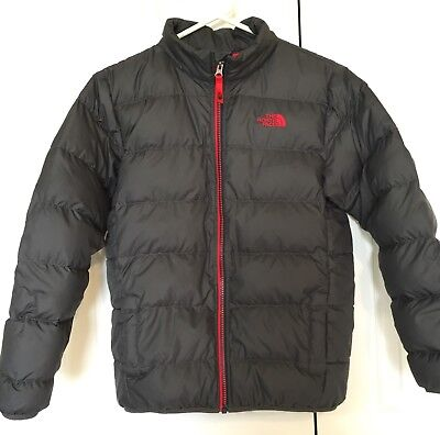 NORTH FACE ANDES GRAY RED FULL ZIP DOWN JACKET Boys Large Sz 14 ~ Worn 1 WEEK!