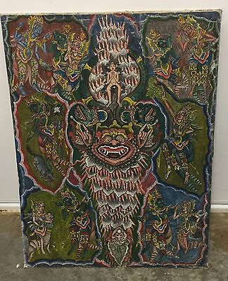 Large Vintage Indonesian Balinese Hand Painted On Fabric Wall Hanging Picture