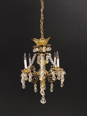 Dollhouse Miniature Handcrafted 4 light Crystal Chandelier 12V 1:12 Scale