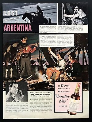 1939 Vintage Print Ad CANADIAN CLUB Argentina Whiskey Campfire