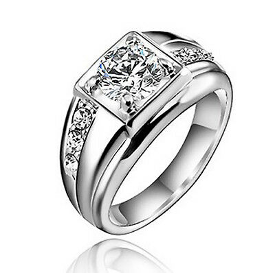 18k White Gold Plated Wedding Band Engagement Silver Color Ring Size 9 R13