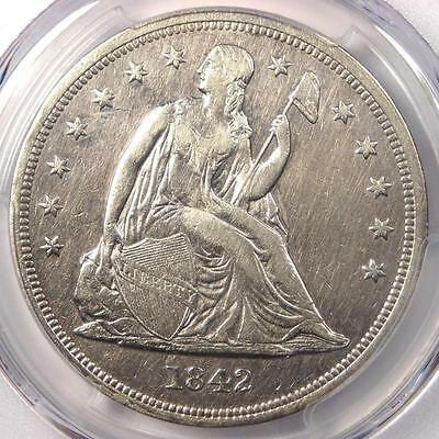 1842 Seated Liberty Silver Dollar $1 - PCGS XF Details - Rare Early Date Coin!