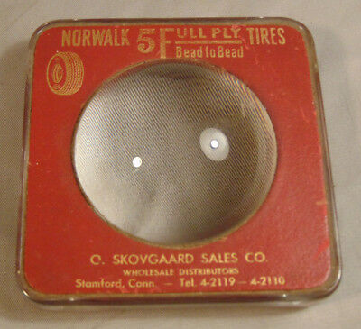 Antique NORWALK TIRES Advertising Magnifying Glass Center Paperweight 5 Full Ply