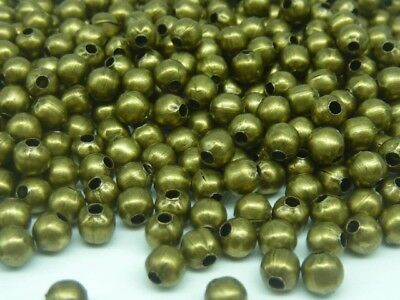 400 pce Antique Bronze Round Metal Spacer Beads 4mm Jewellery Making Craft