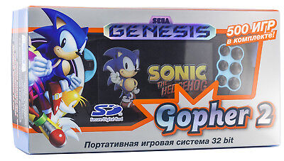 Sega Genesis Gopher 2 Portable Game Player Blue (SMD,SMS,SNES,NES,GBC)+500 Games