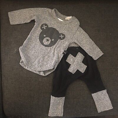 Huxbaby Hux Baby Long Sleeve Body Suit And Pants Bear 3-6m