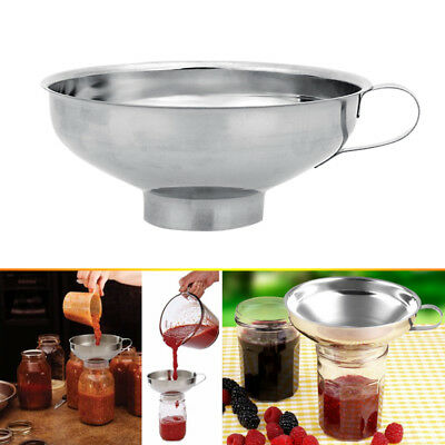 Stainless Steel Wide Mouth Canning Funnel Hopper Filter Cooking Tools S/L Sizes
