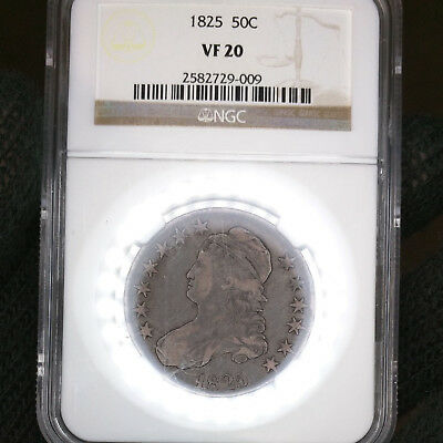 1825-P VF20 Capped Bust Silver Half Dollar 50c graded by NGC as Very Fine!