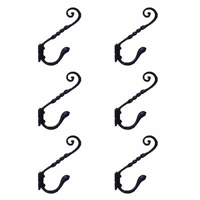 """6 Coat Hook Black Wrought Iron RSF 5 3/4"""" H X 4"""" Projection 