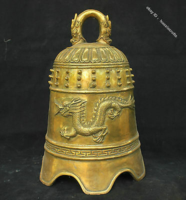 "12"" China Buddhism Temple Antique Brass Bronze Statue Beast Dragon Bell Zhong"