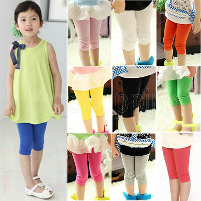 Candy Color Kids Girls Slim Fit Stretchy Skinny Leggings Shorts Pants Tight