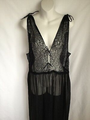 Vtg Black Lace Long Nightgown Old Hollywood Glamour Madame Tilly Saks 5th Ave