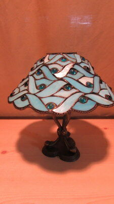 RETIRED PartyLite Blue Spring Water Tiffany Style Candle Lamp - Stained Glass