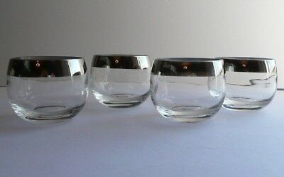 Set of 4 SILVER BAND Small Roly Poly Bar Glasses Dorothy Thorpe Style