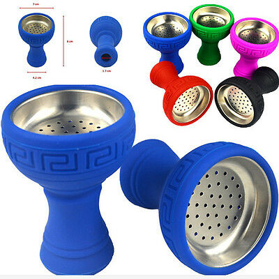 NEW Silicone Hookah Bowl Silicon + Stainless Head Holders Smoke Parts 6 colors