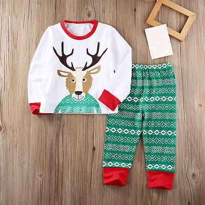 AU Stock Xmas Toddler Boy Girl Kid Pajamas Sleepwear Nightwear Deer Tops + Pants