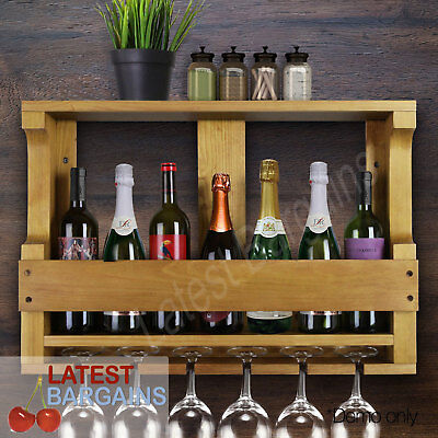7 Bottle Timber Wine Rack Wall Mount Wooden Glass Storage Stand Holder Bar