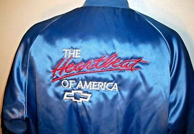 Vintage Chevy The Heartbeat of America Blue Satin Jacket - Sz XL Made in USA