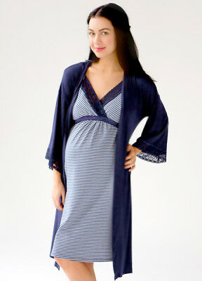 NEW - Belabumbum - Nursing Maternity Nightie & Robe Set in Navy Stripe