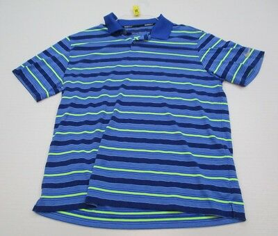 NIKE #T5777 Men's Size L Athletic GOLF DRI-FIT Short Sleeve Blue Polo Shirt