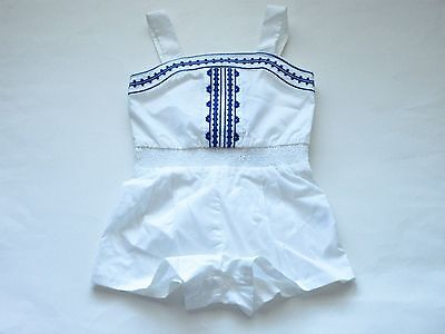 NWT Janie and Jack paradise cruise embroidered white blue romper size 6