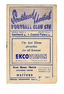 Southend United v Crystal Palace Reserves Programme 1.3.1952 COMB CUP